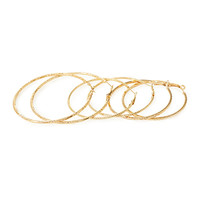 FOREVER 21 Textured Hoop Earrings Set Gold One