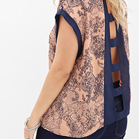 FOREVER 21 PLUS Cutout Ornate Print Top Peach/Navy