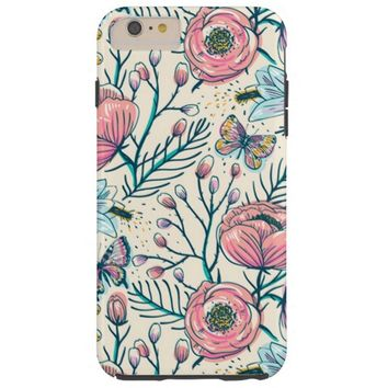 Chic Pink Rose Flower Pattern iPhone 6 Plus Case