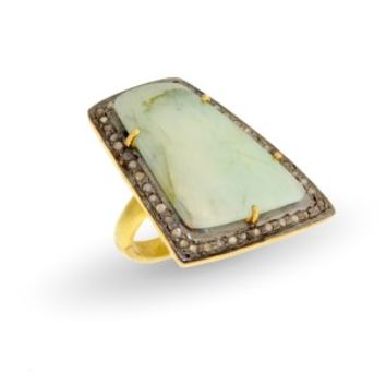 Gold Plated Diamond Accented Light Green Sapphire Ring