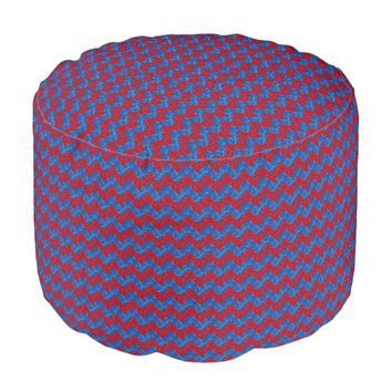 Chevron Glitter, Red and Blue Pouf Seat
