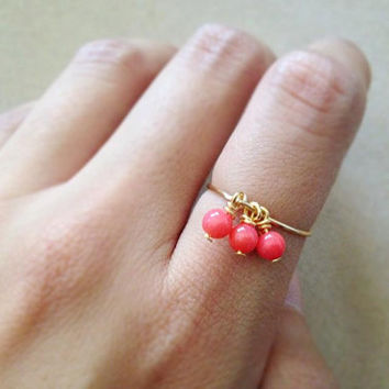 Coral ring, gemstone ring, tiny beaded ring. everyday ring. Jewelry set. gold ring, silver ring, small gift, simple ring, thin ring