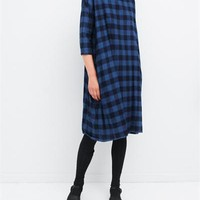 Creatures of Comfort Roman Dress Plaids Blue Buffalo