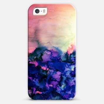 INTO ETERNITY in PINK AND INDIGO BLUE - Colorful Feminine Pretty Abstract Watercolor Floral Field Nature Flowers Girlie Sweet Painting iPhone 5s case by Ebi Emporium | Casetify