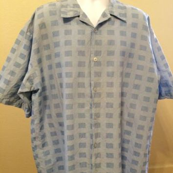 Mens MAXINI PREMIUM Blue Check Casual Big Size 2XL XXL 100% Linen Shirt