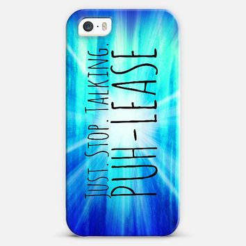 JUST STOP TALKING PUH-LEASE Funny Modern Typography Blue Radiant Abstract Colorful Hipster Painting iPhone 5s case by Ebi Emporium | Casetify