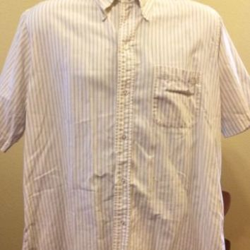 Mens BROOKS BROTHERS Casual Shirt Size 16 1/2 Cotton Short Sleeve White Stripe