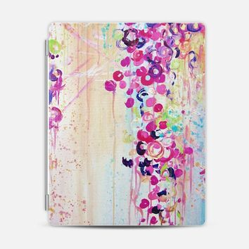 DANCE OF THE SAKURA - Lovely Floral Abstract Japanese Cherry Blossoms Flowers Girlie Sweet Spring Nature Romantic Feminine Peach Blue Painting iPad 3/4 case by Ebi Emporium | Casetify