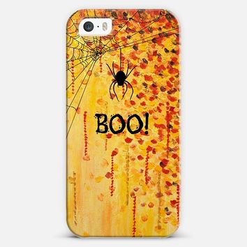 BOO! Spooky Cool Spider Halloween Typography Creepy Festive Trick or Treat Orange Black Spiderweb All Hallow's Eve Bold Fine Art Painting Design iPhone 5s case by Ebi Emporium | Casetify