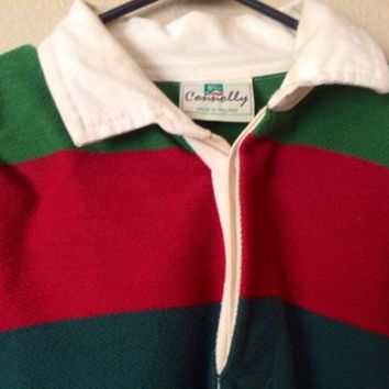 Vintage Mens XL Connolly Rugby Shirt Ireland Cotton Rich Blend Striped Red Green