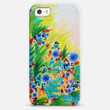 NATURAL ROMANCE - Pretty Feminine Floral Abstract Flowers Colorful Bright Summer Nature Garden Yellow Green Blue Romantic Girlie Wildflowers Painting iPhone 5s case by Ebi Emporium | Casetify
