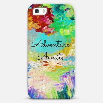 ADVENTURE AWAITS - Wanderlust Colorful Forest Floral Trees Typography Explore Wild Hipster Summer Nature Rainbow Abstract Fine Art Painting iPhone 5s case by Ebi Emporium | Casetify