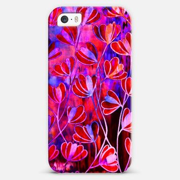 EFFLORESCENCE Bold Red Magenta Pink Royal Blue Navy Colorful Girly Floral Watercolor Abstract Pattern Flowers Fine Art Painting iPhone 5s case by Ebi Emporium | Casetify