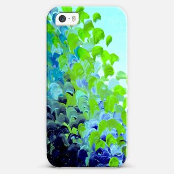 CREATION IN COLOR in GREEN AND BLUE - Bold Colorful Aqua Turquoise Royal Blue Grass Lime Ocean Waves Beach Splash Abstract Painting iPhone 5s case by Ebi Emporium | Casetify