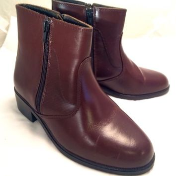 Women's D. Orking Leather Brown Fashion Heel Ankle Boot Double Zipper Size 6