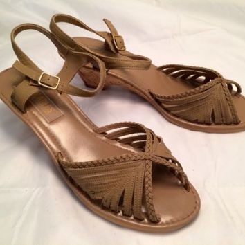"""Womens """"Walkables"""" Sandals The Shoe With Comfort In Mind Size 10 Tan Cork Wedge"""