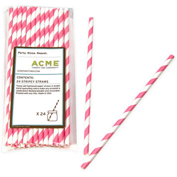Stripey Straws, Pink/White, Set of 96, Other Bar Tools & Accessories