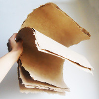 Extra Large Handmade PAPER- Natural Brown Recycled Paper, Medium weight. 4 sheets or custom order.