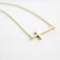 sideways rose gold titanium steel crossing pendant 14k women collarbone necklace short necklace XL106