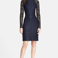 St. John Collection Two-Tone Paillette Knit Dress with Rose Noir Lace Sleeves | Nordstrom