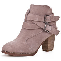 Buckle Faux Leather Ankle Booties - OASAP.com