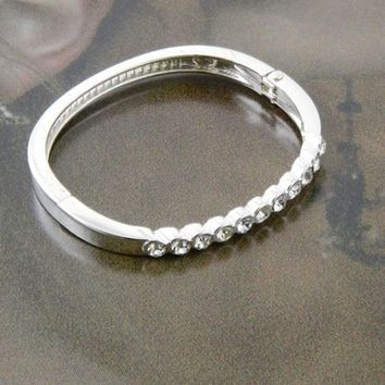 Silver Rhinestoned Single Bangle Bracelet