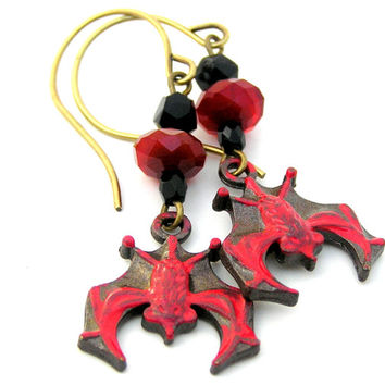 Bat Earrings, Blood Red. Flying Bat Earrings