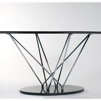 Stacy Contemporary Oval Wood Top Marble Base Dining Table, Oval Wood Top Dining Table: Nyfurnitureoutlets.com