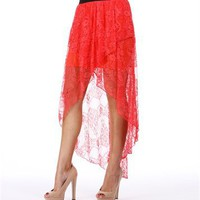 Coral Lace Wrap Hi Low Skirt