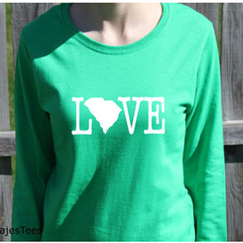 Love South Carolina Shirt, Long Sleeve South Carolina Shirt, Womens