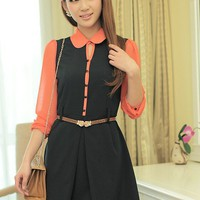 Women Chiffon Turndown Collar Long Sleeve Dark Blue Dress S/M/L@MF9816db