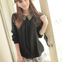Women Polyester Lapel  Bubble Long Sleeve Black One Size Top@MF9827b
