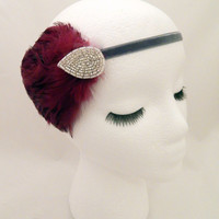 The Elsie - burgundy flapper headpiece, holiday party headband, Downton Abbey feather fascinator, burgundy 1920s headpiece, merlot headband