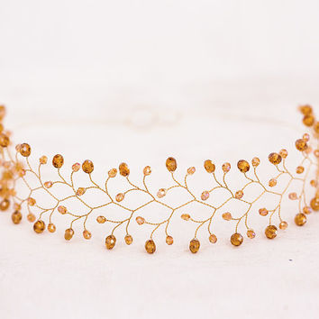 Gold Crystals Tiara, Yellow Hair accessory, Bridal Hair accessories, Gold accessory, Сrystals crown, Twigs Gold tiara, Party Fashion