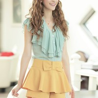 Women Chiffon  Multi-Layers Ruffled Collar Short Sleeve Blue Top@MF9738bl