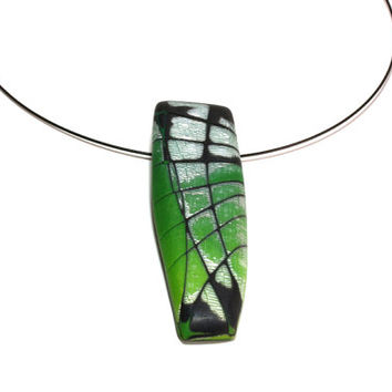 Green Pendant Necklace - Unique Polymer Clay  Mokume Gane Pendant - Eye of the Dragon