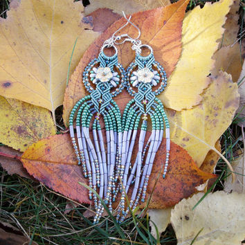 Long micro macrame earrings - Tassel Fringe Sage Green Gray Gold Unique Beadwork Bohemian