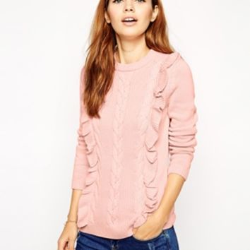 ASOS Cable Jumper With Ruffle