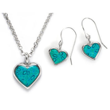 Turquoise Heart Necklace and Dangle Earring Jewelry Set Made of Millefiori Polymer Clay Set in 925 Sterling Silver - FREE SHIPPING