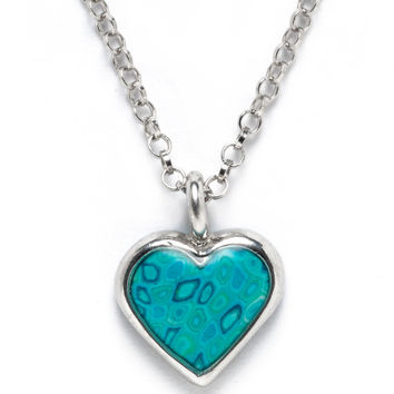 Romantic Jewelry - Heart Shape Necklace - Handcrafted Turquoise Millefiori Design - FREE SHIPPING