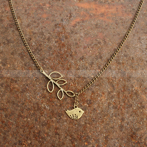 Bird necklace- charm necklace with leaves pendant, sweet gift for friends
