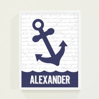 Children Decor Navy Blue Anchor - Boy's Room Wall Art - Nautical Personalized Nursery Art