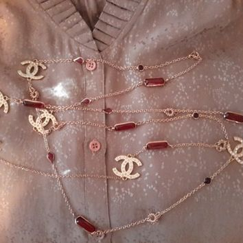Hot Statement CC Logo Opera Necklace Inspired by CHANEL MADE IN USA
