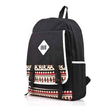 CrazyPomelo Preppy Look Casual Tribe Pattern Printed Canvas Backpack