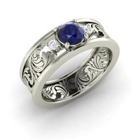 Sapphire & Diamond Ring in 14k White Gold | 0.86 ct. tw. | Round Cut | Feast | Diamondere