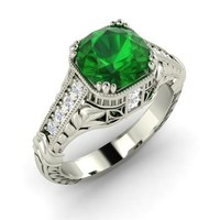Emerald & Diamond Ring in 14k White Gold | 2.62 ct. tw. | Round Cut | Darcy | Diamondere