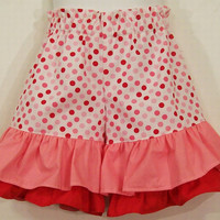 Girls -PinkDouble Ruffle Shorts Red-#268