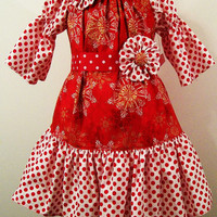Girls Christmas Dress-Peasant-Red -Gold and Dots-With Fabric Flower Clips--#301