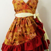 Girls Wrap Dress- Fall Leaves---#282