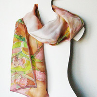 Hand painted silk scarf on habotai silk  - floral motives gift idea